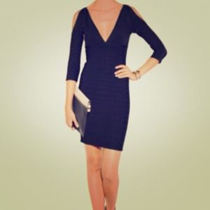 Auth XS Herve Leger Black Cutout Shoulder Dress
