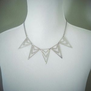 Silver Geometric Bib Necklace