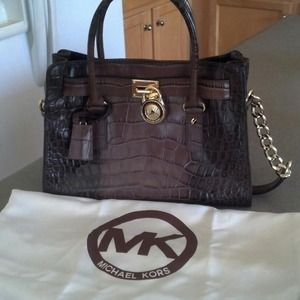 Michael Kors brown croc leather satchel