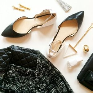 Nine West Shoes - Black and White d'Orsay Flats