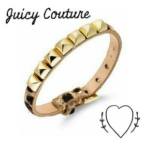 Juicy Couture Leopard-Pyramid Leather Bracelet