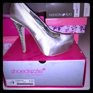 Shoedazzle Shoes - Silver Satin Platform Pump with Rhinestone Heel