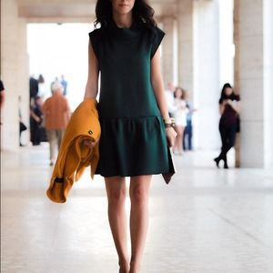 Zara Dresses & Skirts - Zara green neoprene drop waist dress