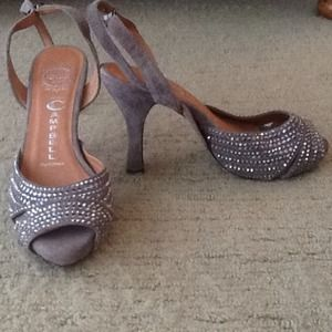 Jeffrey Campbell rhinestoned gray heels
