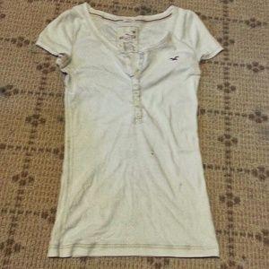 Half button up white tshirt