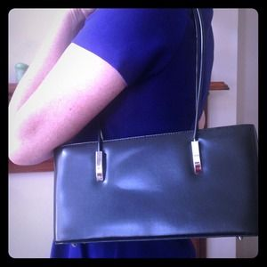 Classic black patent shoulder bag