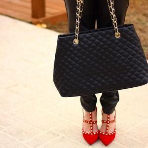 Shoes - Red rockstud heels