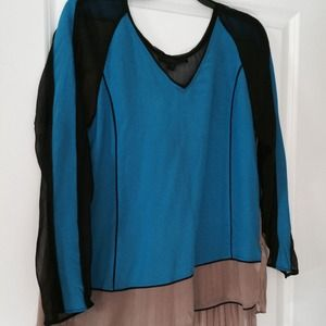 aryn k Tops - BRAND NEW color block silk top