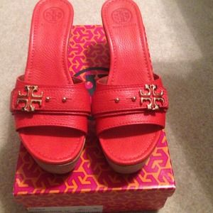 Reddish orange Tory Burch wedge
