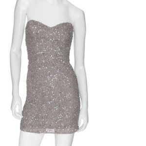 Parker grey cluster bead sequin dress