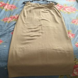 Stop Dresses & Skirts - Beige long pencil skirt with slit