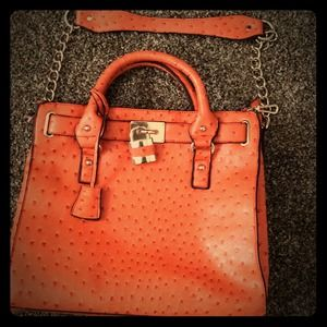 Just fab orange Ostrich bag