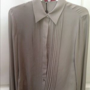 Carolina Herrara Taupe Silk Paneled Blouse 8 NWT