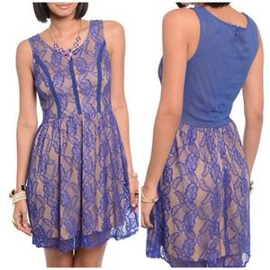 Dresses & Skirts - Royal Blue Peekaboo Lace Dress