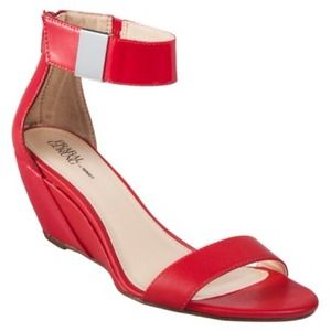 NEW Prabal Gurung Red Ankle Strap Wedge Sandals