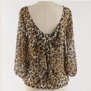 Leopard print bow back top