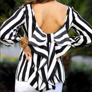 Black and white stripe bow back top