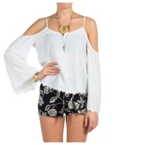 Tops - Boho Chic White Top + Cut-Out Shoulders, Lace Trim