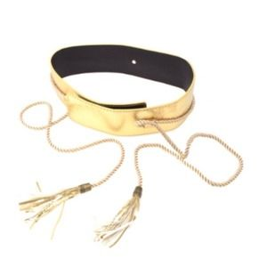 Accessories - Faux Gold Leather Obi Belt + Rope & Tassels