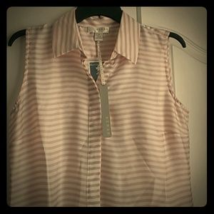 kenar Tops - White & pink stripped button up tank