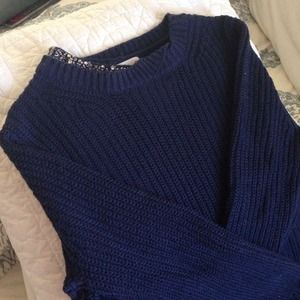 Phillip Lim for Target Sweaters - Chunky Navy Sweater with jeweled collar