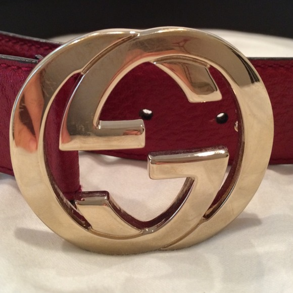 cf0b5a70a1c Gucci Accessories - AUTHENTIC RED GUCCI BELT WITH GOLD GUCCI SYMBOL