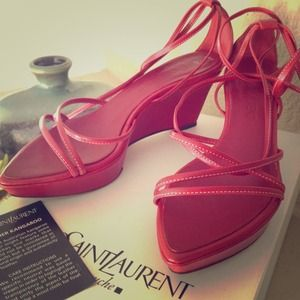 Yves Saint Laurent Shoes - ✨JUST ADDED✨YSL strappy red wedges 👠