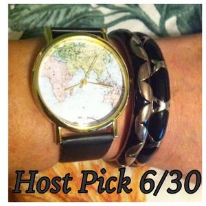 Last One ❤Host Pick❤   World Map Watch Black Band
