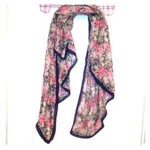 Vintage navy with pink floral scarf for spring