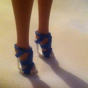 """mattel barbie Other - Barbie Blue Strap High Heel Shoes for 12"""" dolls"""