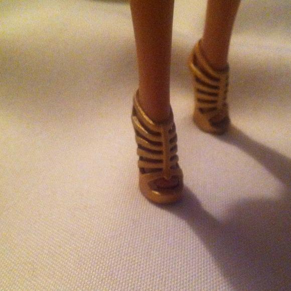 """Mattel Barbie Other - Barbie Gold Strap High Heel Shoes for 12"""" dolls"""