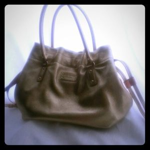 Gold metallic Kade Spade hobo leather handbag