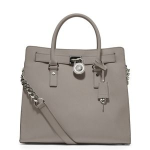 Michael Kors Hamilton Saffiano Leather Pearl Grey!