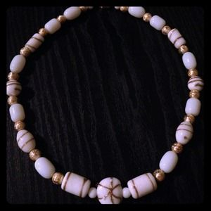 Gorgeous Handmade White and Gold bead necklace