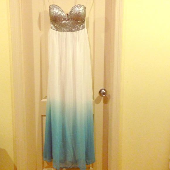 Reverse sequin bustier maxi dress