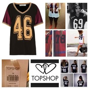Topshop Tops - Topshop Football Tee