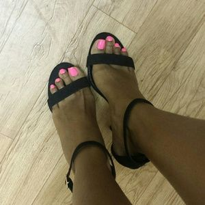 LuLu's Shoes - Black Ankle Strap Heels