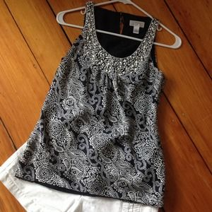 Ann Taylor Navy paisley sleeveless blouse