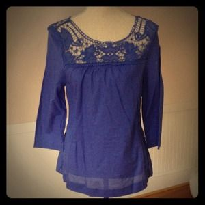 Dark periwinkle crochet neck tunic
