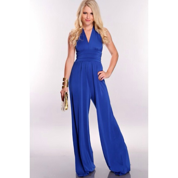 Royal Blue Wide Leg Long Halter Jumpsuit Size S S From Amy
