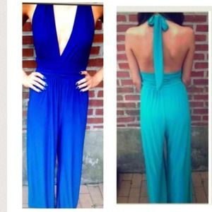 Royal blue Wide leg long halter jumpsuit size S