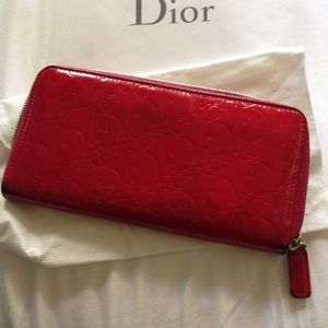 SOLD AUTHENTIC Christian Dior red long wallet