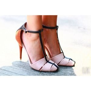 NEW Colorblock Ankle Strap Heels