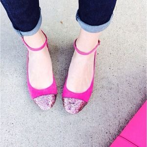 Shoes - NEW Fuchsia Glitter Ankle Strap Flats