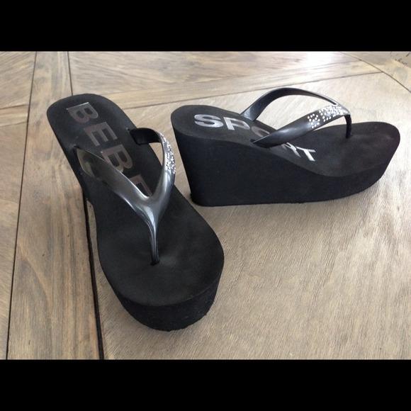 3dff412b8b598 bebe Shoes - Bebe Flip Flops wedge