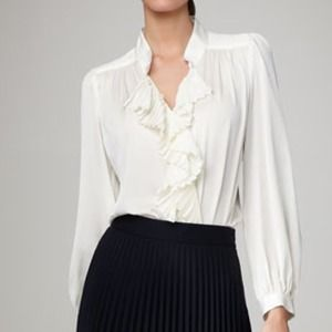 Milly Ivory Alizee Pleated Silk Blouse 12 NWOT