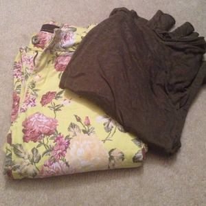 Denim - Floral Crop Jeans