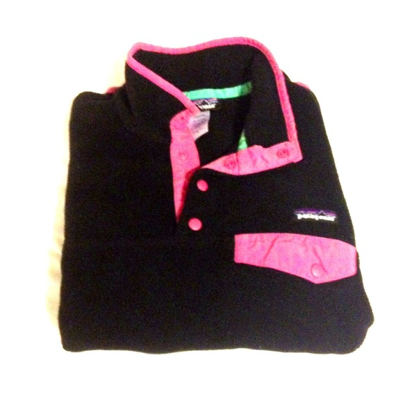 60% off Patagonia Sweaters - Patagonia Black & Pink Synchilla ...