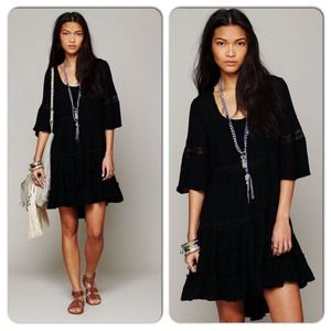 Free People Daisy Lace Ruffle High Low Dress Black
