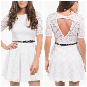 NEW White Lace Dress w/ Belt